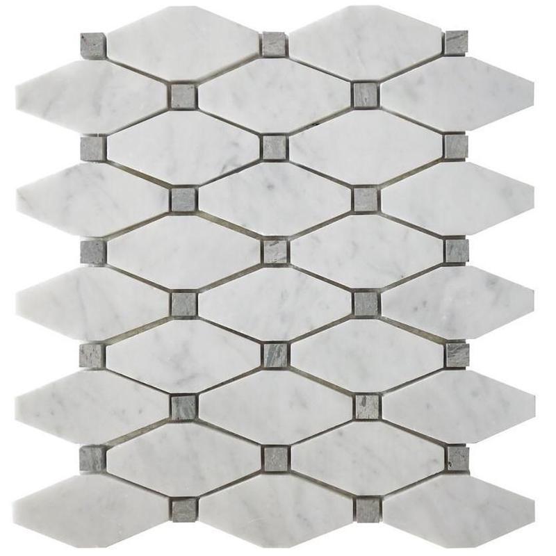 Marble White Carrara Elongated Octagon W Grey Honed   Mosaic