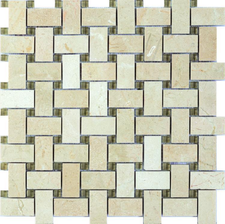 Precious Stone Cross Beige 1x2 Windmill  Glass  Mosaic