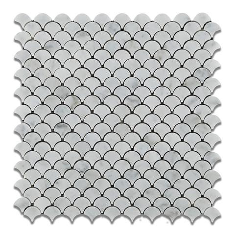 Marble White Carrara 1 in Fan Honed   Mosaic