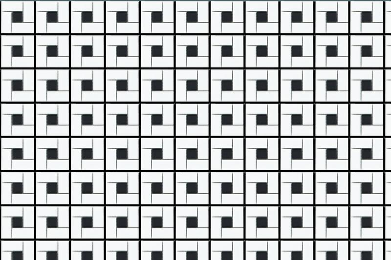 Porcelain Mosaics Pinwheel W Black Dot 1x1  Matte   Mosaic