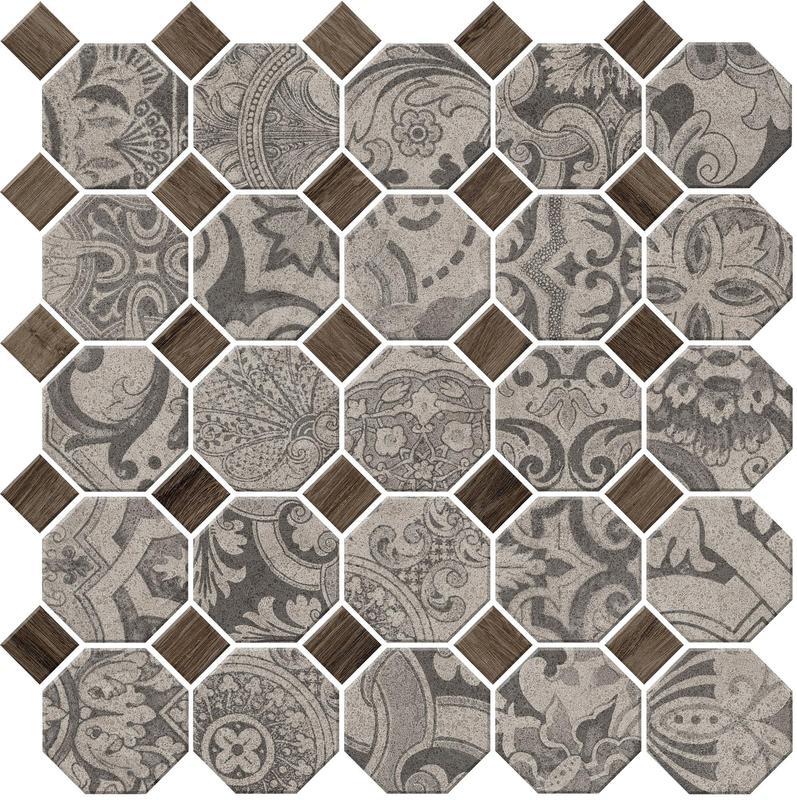 Rhetoric Eloquent Grey Mix Matte, Octagon-With-Dot, Porcelain, Mosaic