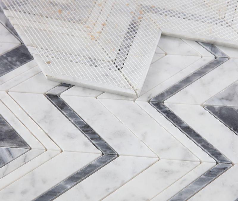Elysium Tiles - Chevron Herringbone Ravenna Lava Polished Marble  Mosaic