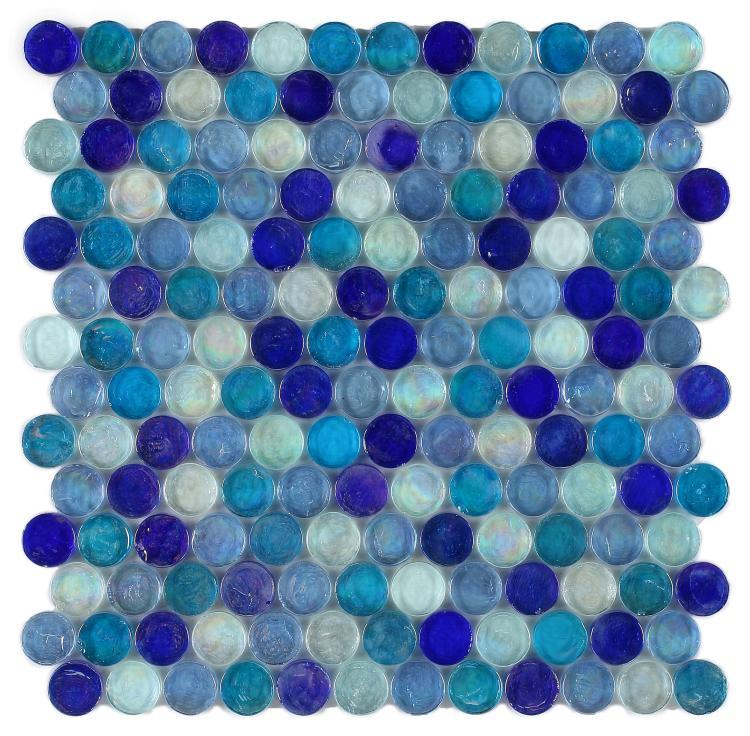 Malibu Sky Pennyround  Glass  Mosaic