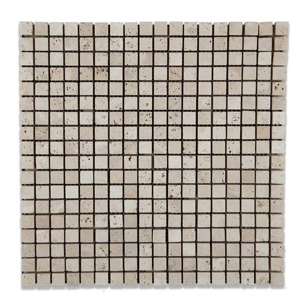 Ivory Premium 0.63x0.63 Square Tumbled Travertine  Mosaic
