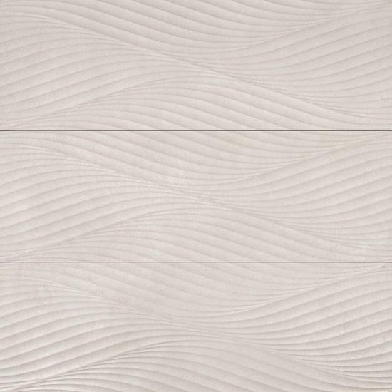 Donna Wave Deco Wall Field Tile In Beige 13x40, Matte, Rectangle, Ceramic