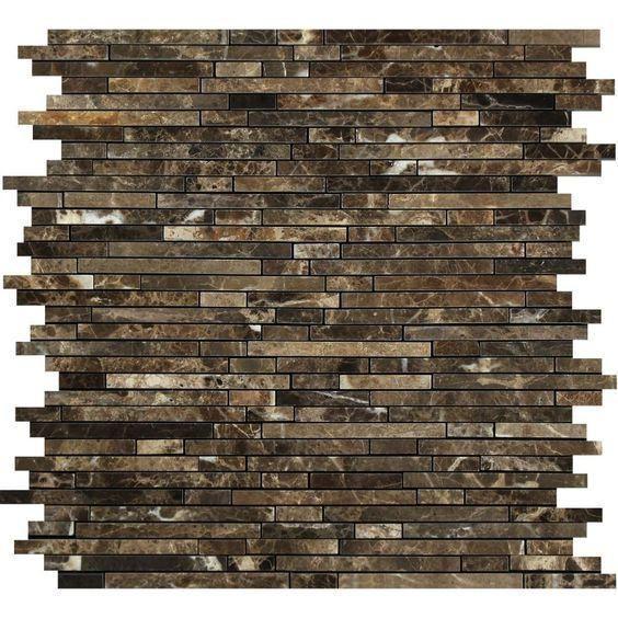 Emperador Dark Spanish Marble Bamboo Polished   Mosaic