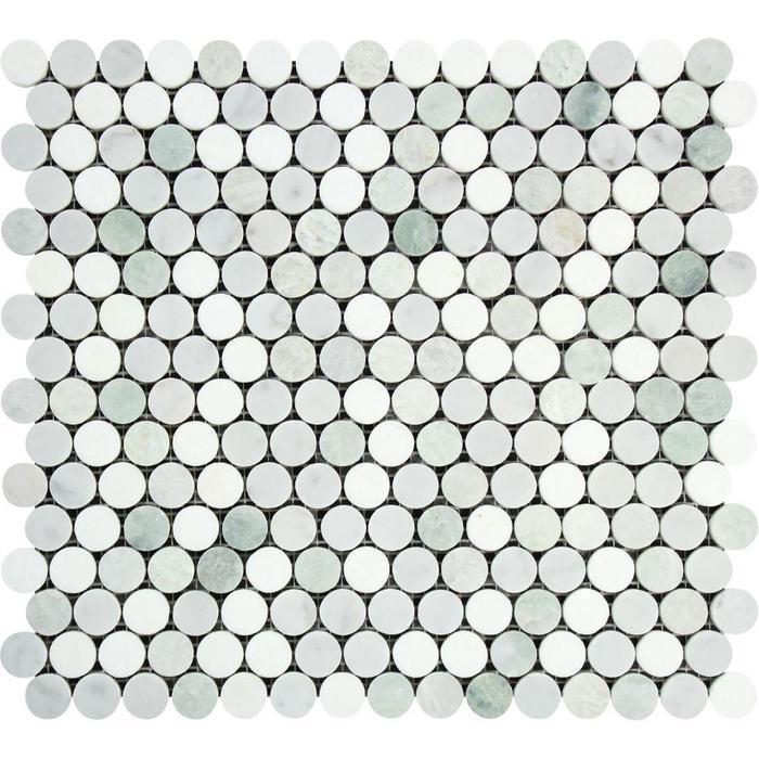 Marble Thassos White W Carrara Ming Green Pennyround Polished   Mosaic
