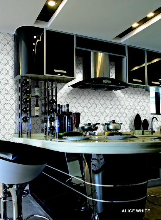 Alice White Arabesque Glass   Mosaic