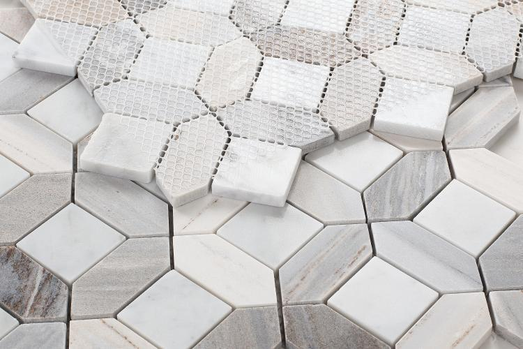 Eclipse Sky Hexagon Polished Marble  Mosaic