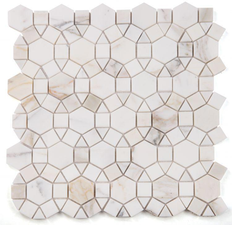Aether Calacatta Circular Polished Marble  Mosaic