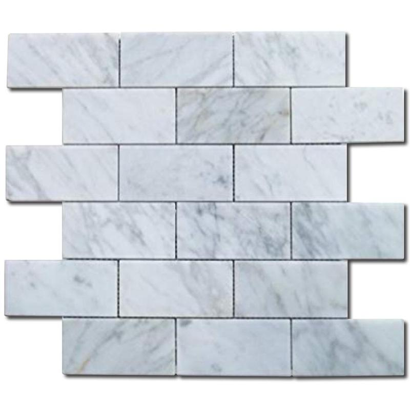 Carrara White 2x4 Brick Polished Marble  Mosaic
