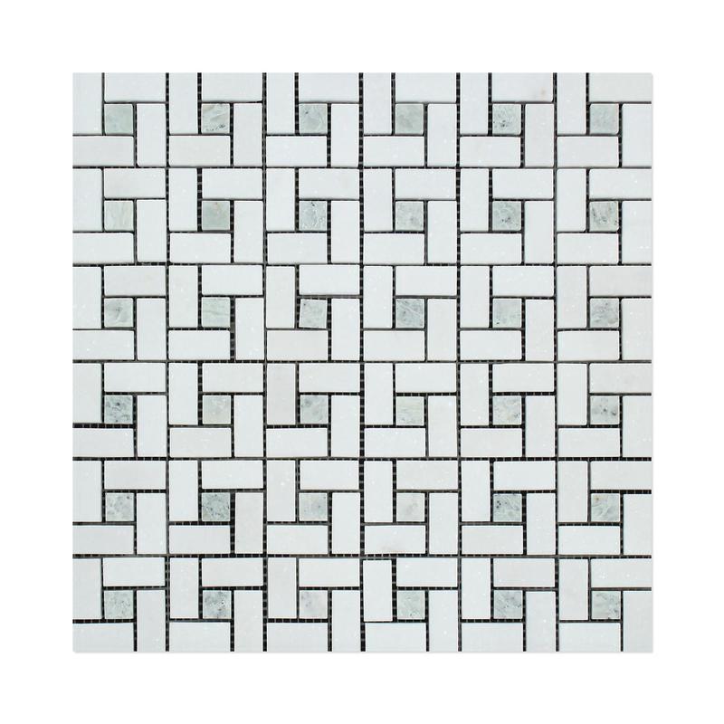 Marble Thassos White W Ming Green Pinwheel Polished   Mosaic