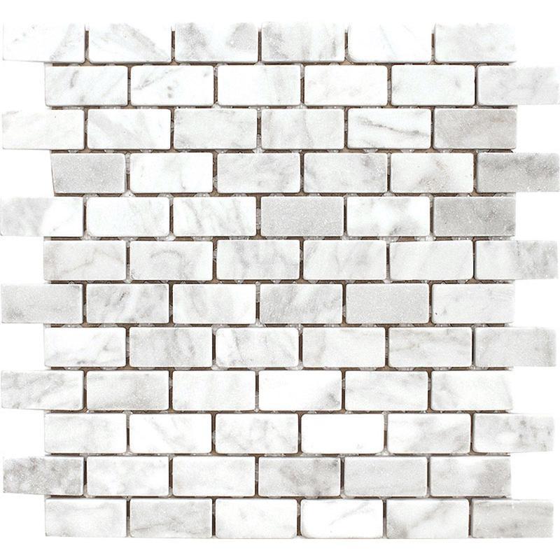 Marble White Carrara 1x2 Brick Tumbled   Mosaic
