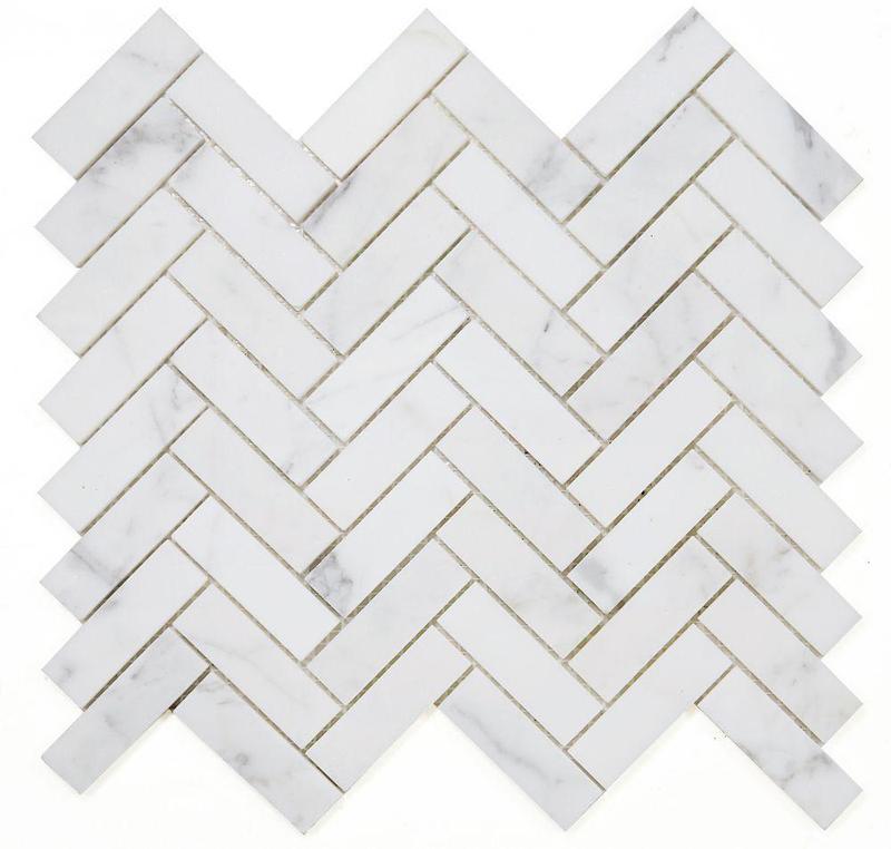 Chevron Herringbone Calacatta White Honed Marble  Mosaic