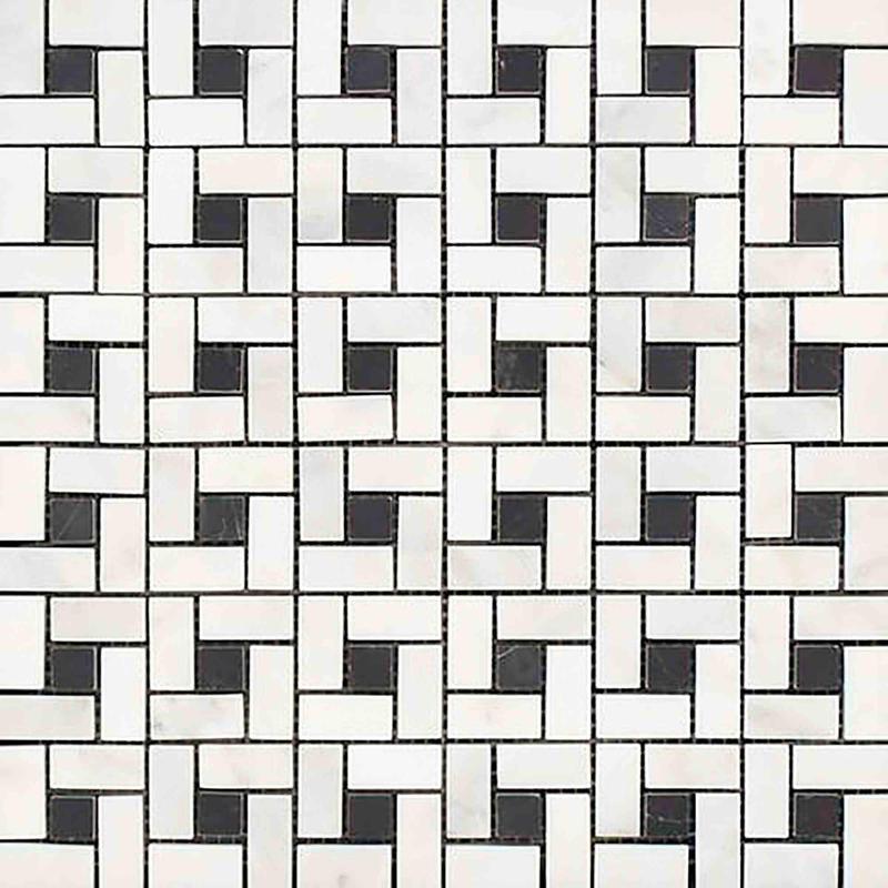 Marble Thassos White W Black Pinwheel Honed   Mosaic