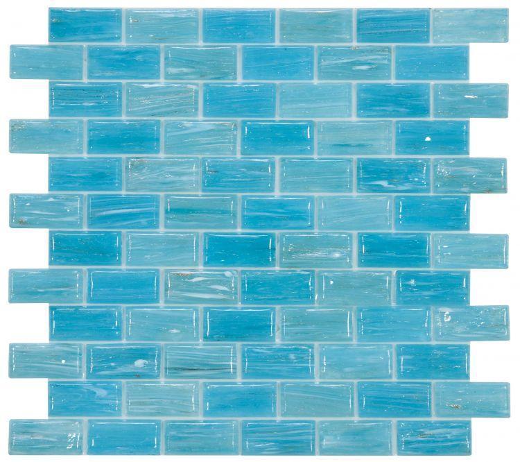 Hot Clear Blue Brick  Glass  Mosaic