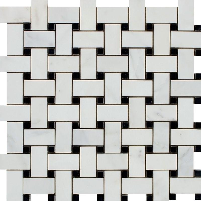 Marble Oriental White Basketweave W Black Dot Polished   Mosaic