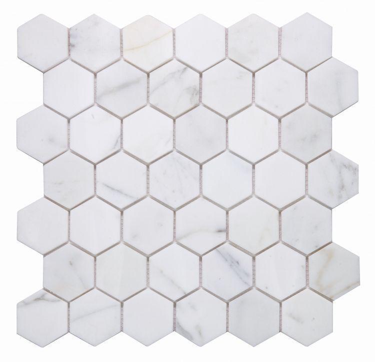 Hexagon Calacatta Gold 2x2  Honed Marble  Mosaic