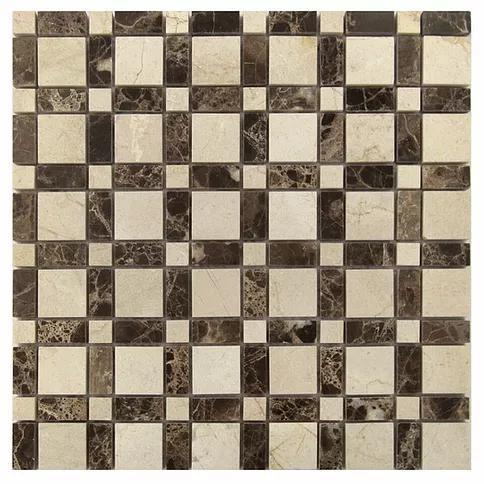 Stone Mosaic Emperador Dark Crema Marfil Mix Polished Marble