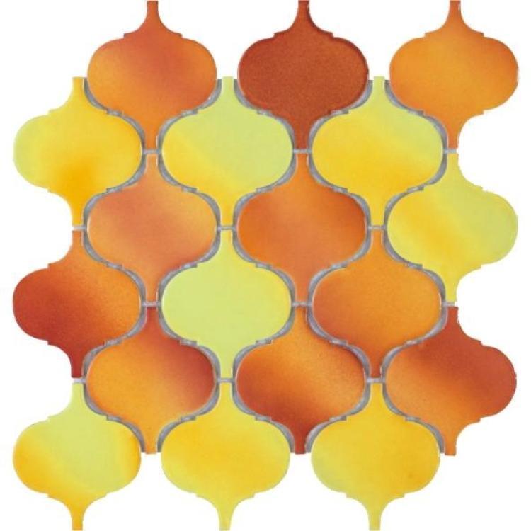Hulu Orange Arabesque  Porcelain  Mosaic