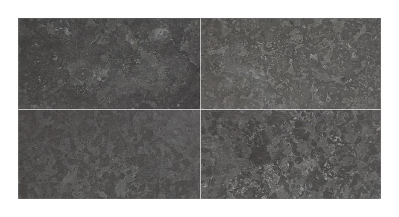 Noir Saint Clair Limestone Tile 18x36 Brushed, Leather   3/4