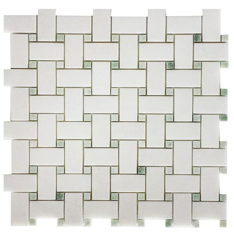 Marble Thassos White Basketweave W Green Dot Honed   Mosaic
