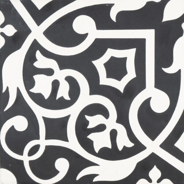 Dokala Black White 8x8, Unpolished, Multi-Color, Square, Cement, Tile