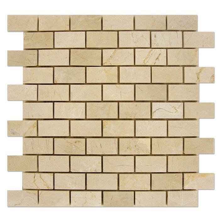 Marble Crema Marfil 1x2 Brick Honed   Mosaic