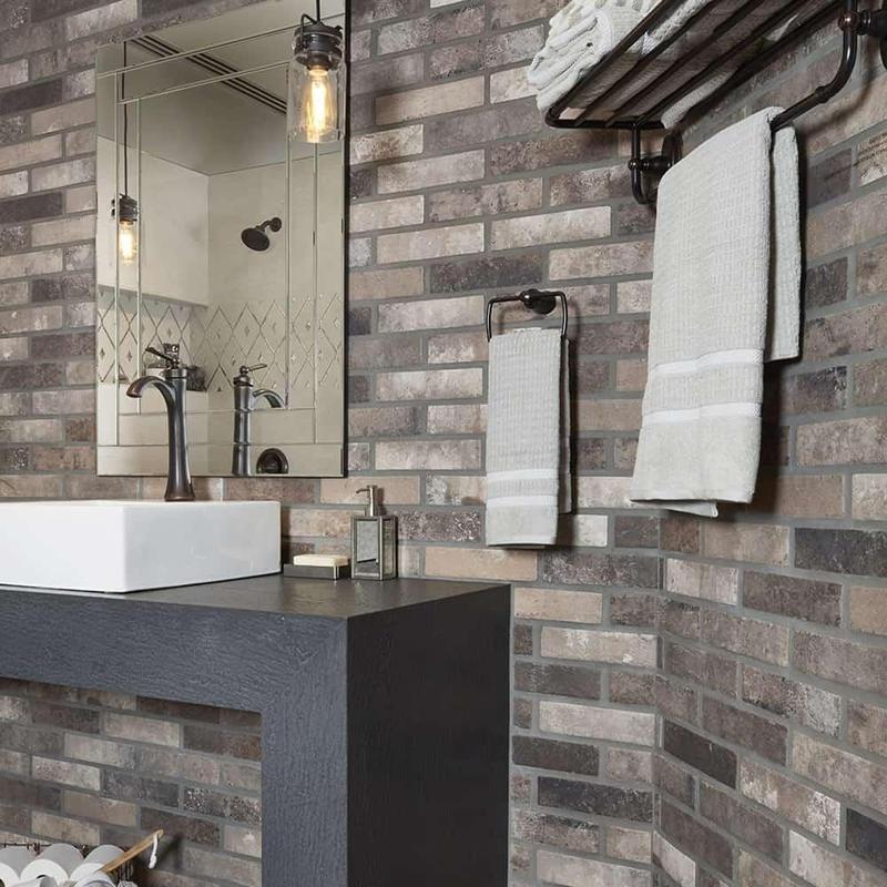 Castle Brick Brown 2.5x10, Glazed, Porcelain, Tile