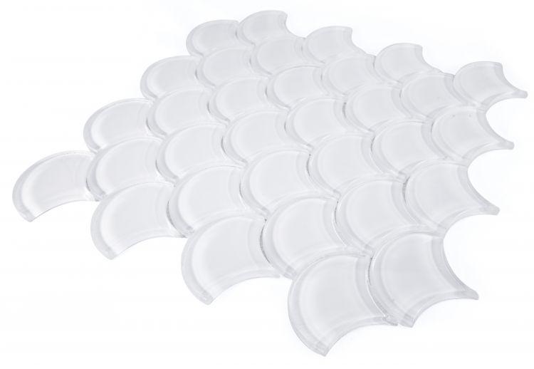 Dragon Scale Glass White Glossy   Mosaic