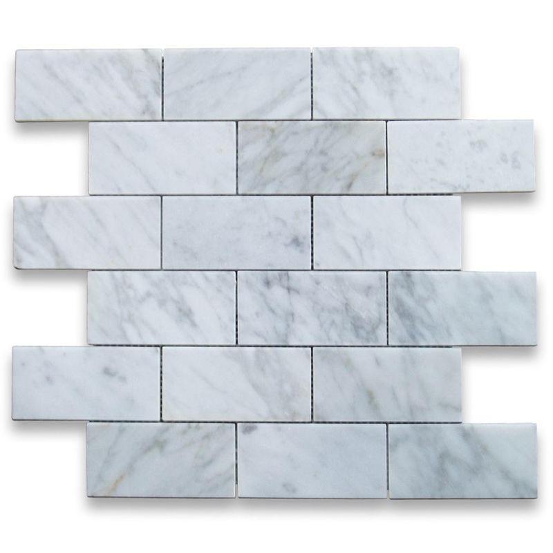 Marble White Carrara 2x4 Brick Honed   Mosaic