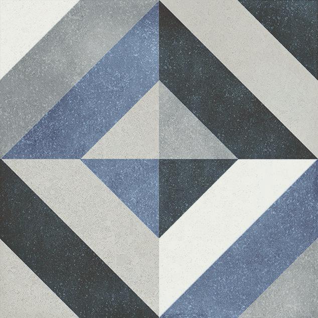 Fluer Geraldine 6x6, Glazed, Blue, Gray, White, Square, Porcelain, Tile