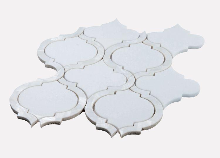 Alice Pearl Thassos Arabesque Glass, Mix   Mosaic