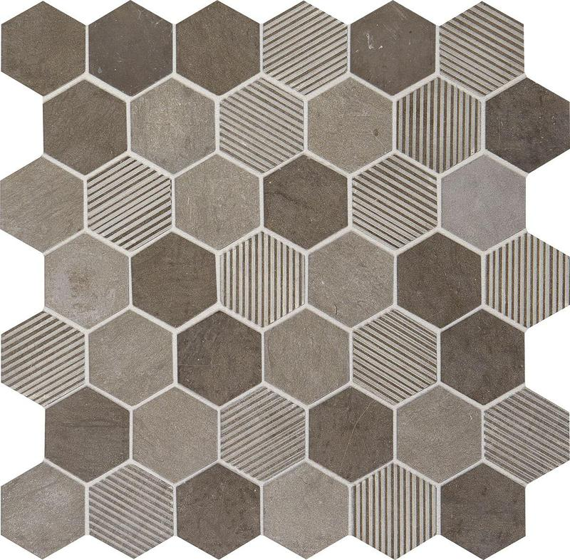 Limestone Collection Moselle Gris 2 in, Mix, Hexagon, Mosaic