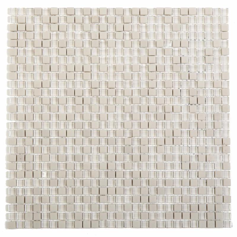 Apex Ivory 0.38x0.38 Square Glossy, Matte Glass  Mosaic