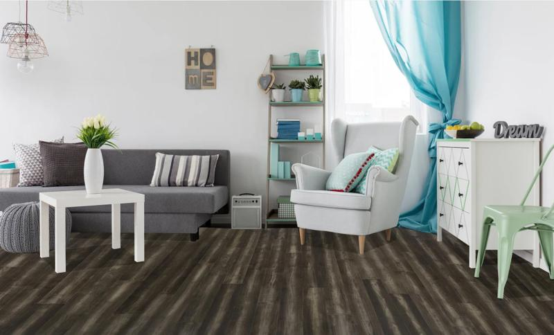 Avery Park Acacia Collection Charcoal 7.5xfree length, Wire-Brushed, Dark Grey, Big-Leaf-Acacia, Engineered-Wood