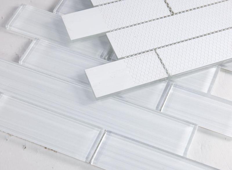 Elysium Tiles - Casale Light Subway Glossy Glass  Mosaic