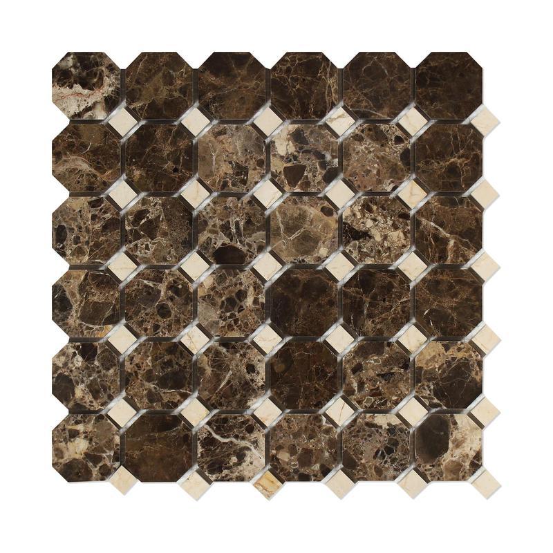 Marble Emperador Dark Octagon W Crema Marfil Dot Octagon With Dot Polished   Mosaic