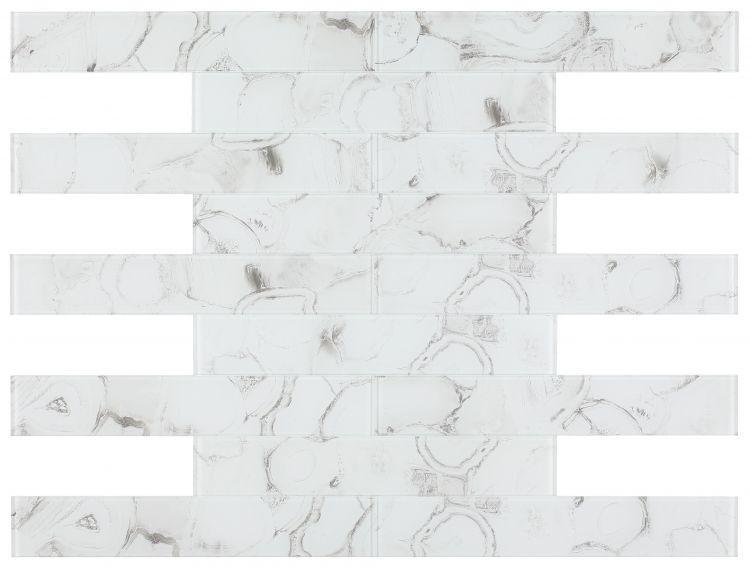 Shell Aura White Subway Glossy Glass  Mosaic