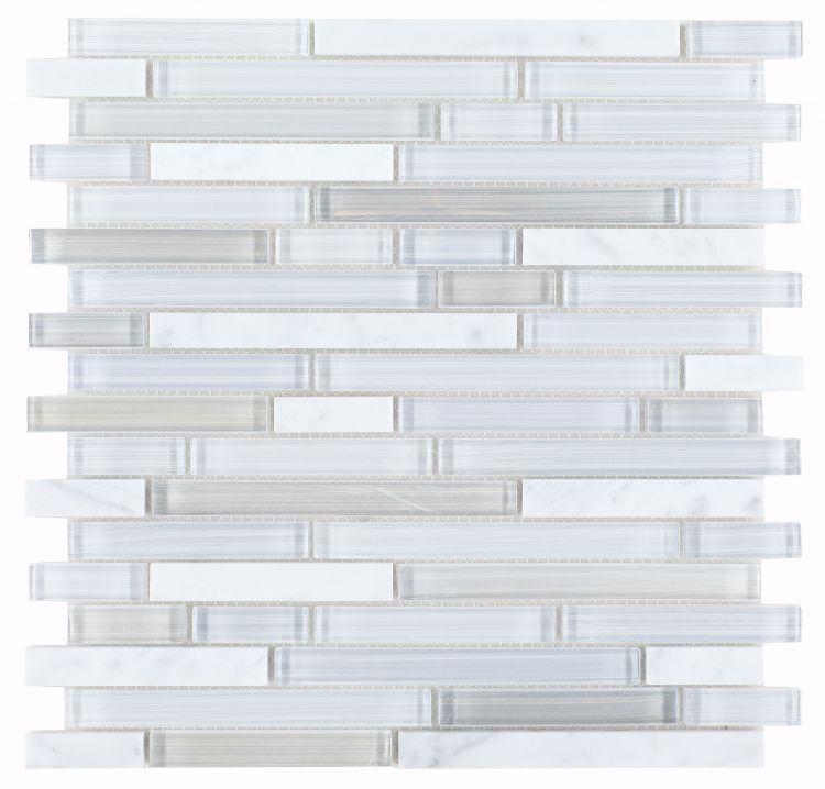 Linear Glass Carrara Goose Mosaic