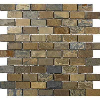 Slate California Gold Rustic 1x2 Brick Tumbled   Mosaic