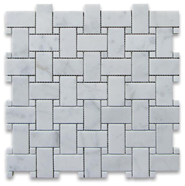 Marble White Carrara Basketweave W Dot Honed   Mosaic