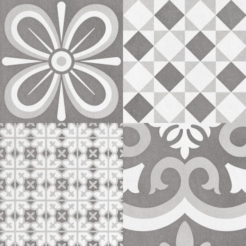 Bouquet Eiffel Patch 9.5x9.5, Glazed, Square, Porcelain, Tile