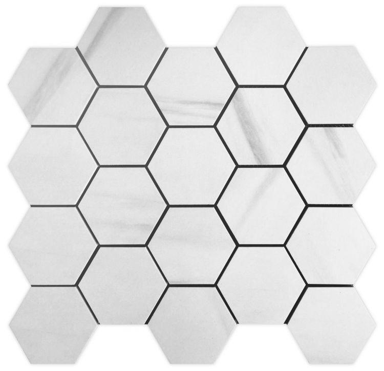 Dolomite Premium 3x3 Hexagon Matte, Glazed Porcelain  Mosaic