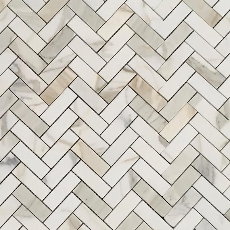 Marble Calacatta Gold Herringbone 1x3  Polished   Mosaic