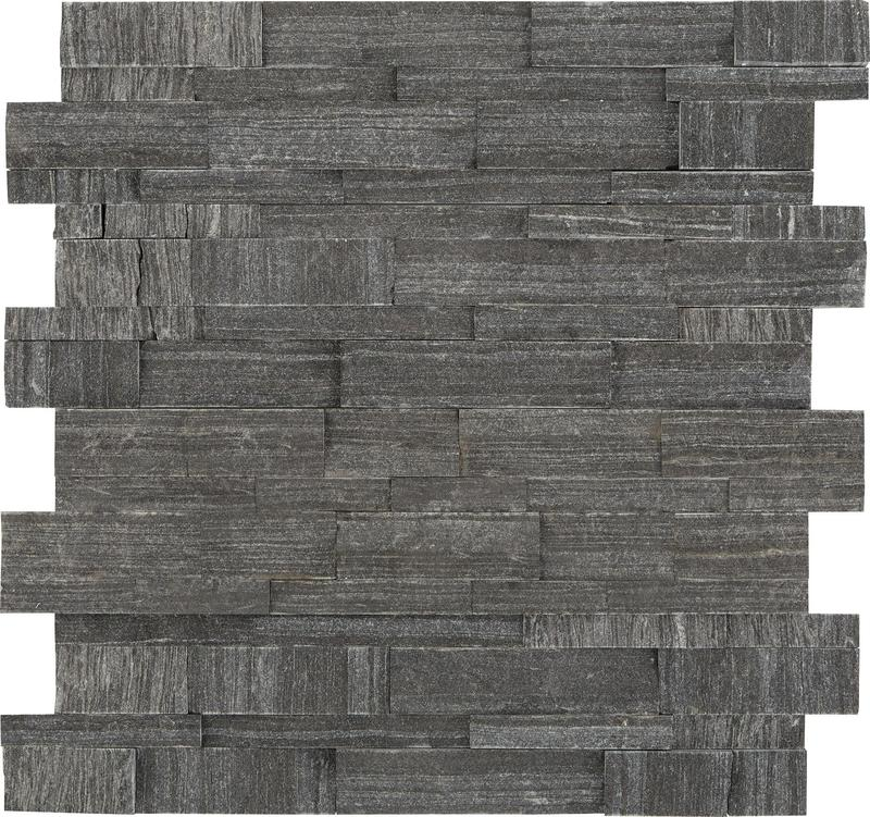 Stacked Stone Macau Black 6x24, Textured, Ledger-Panel, Natural-Stone, Tile