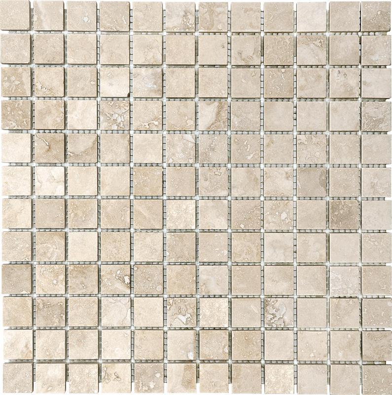 Travertine Ivoria 1x1 Square Tumbled   Mosaic