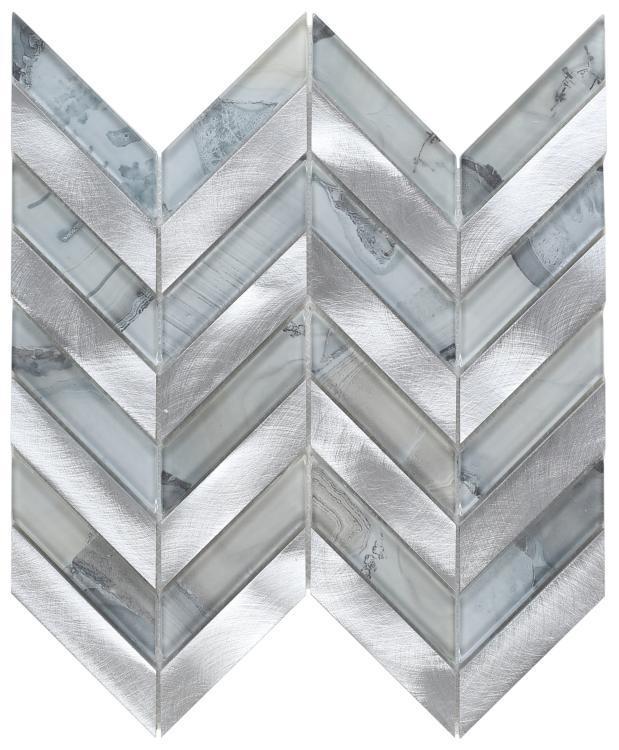 Shell Grey Chevron  Glass  Mosaic