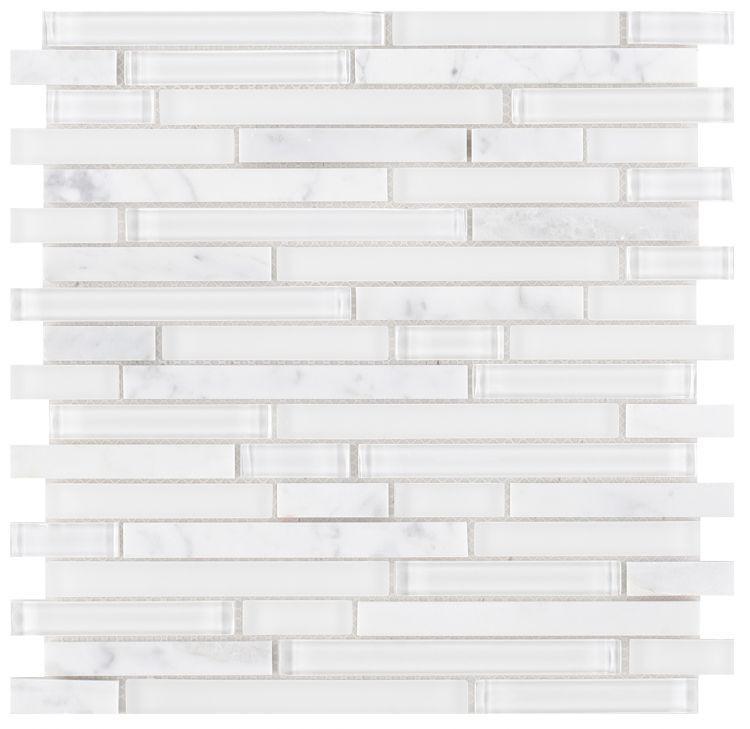 Linear Glass Carrara White Mosaic