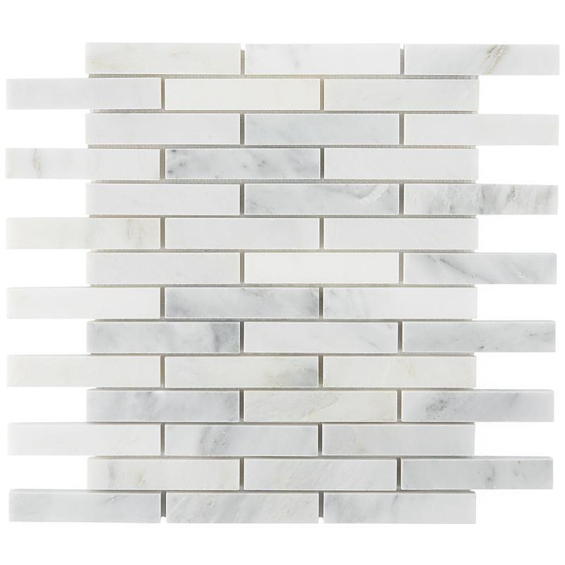 Marble Statuary White 1x6 Brick Honed   Mosaic (Discontinued)